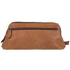 Portobello W11 - Pecan 'Beck' buffalo leather wash bag