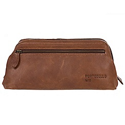 Portobello W11 - Walnut 'Beck' buffalo leather wash bag