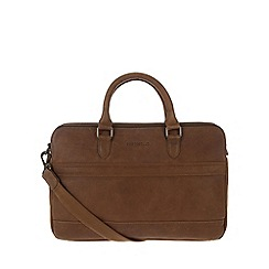 Portobello W11 - Walnut 'Don' rugged leather work bag