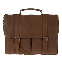Portobello W11 - Walnut 'Bronson' rugged leather briefcase