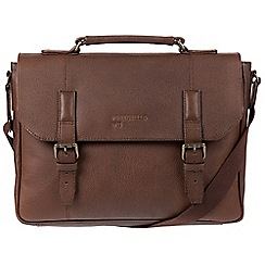 Portobello W11 - Walnut 'Hugh' buffalo leather briefcase