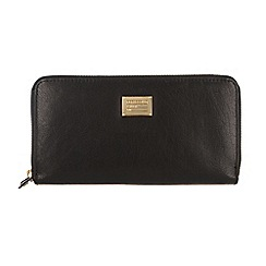 Portobello W11 - Black 'Marie' zip-round leather purse