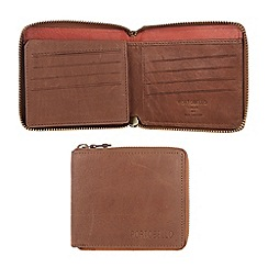 Portobello W11 - Bombay tan 'Smithy' zip-round leather wallet
