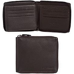 Portobello W11 - Dark brown 'Sergio' RFID 12-card leather zip-round wallet