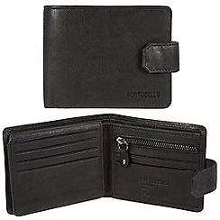 Portobello W11 - Black 'Marshall' RFID 10-card leather wallet