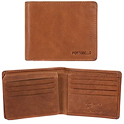 Portobello W11 - Tan 'Parker' RFID 12-card leather wallet