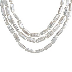 Pure Luxuries London - Gift packaged 'Iryie' rectangle-shaped freshwater pearl 3-row necklace