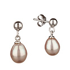 Pure Luxuries London - Gift packaged 'Saphira' 7-7.5mm pink pearl earrings