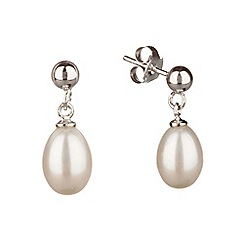 Pure Luxuries London - Gift packaged 'Olivia' 7-7.5mm white pearl earrings