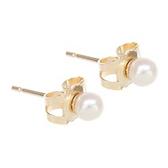 Pure Luxuries London - Gift packaged 3-3.5mm freshwater pearl and 9ct yellow gold earrings