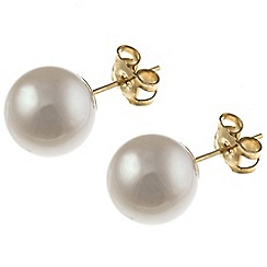 Pure Luxuries London - Gift packaged 9-9.5mm freshwater pearl and 9ct yellow gold stud earrings