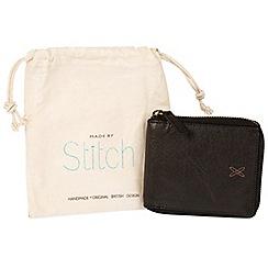 Made by Stitch - Black 'Caldbeck' handmade leather zip-round RFID wallet