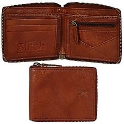 Made by Stitch - Cognac 'Caldbeck' handmade leather zipped wallet