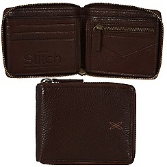 Made by Stitch - Espresso 'Calbeck' handmade leather zip-round wallet