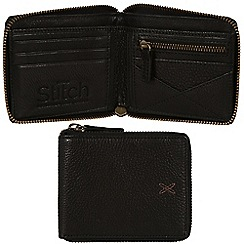 Made by Stitch - Liquorice 'Caldbeck' handmade leather zipped wallet