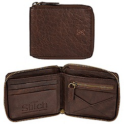 Made by Stitch - Malt brown 'Caldbeck' handmade leather zip-round RFID wallet
