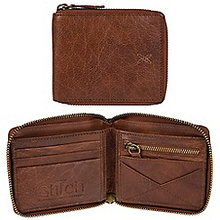 Made by Stitch - Treacle brown 'Caldbeck' handmade leather zip-round RFID wallet