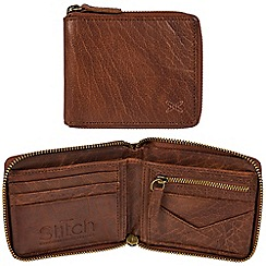 Made by Stitch - Treacle brown 'Arklebury' handcrafted leather zip-round RFID wallet