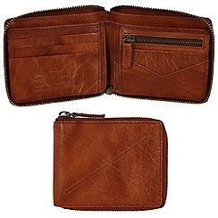 Made by Stitch - Cognac 'Winster' handmade leather 12-card zipped wallet