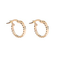 Pure Luxuries London - Gift packaged 'Arline' diamond cut 9ct yellow gold hoop earrings