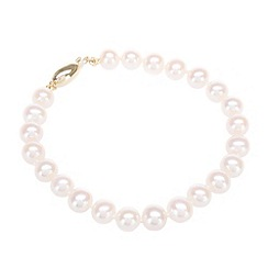 Pure Luxuries London - Gift boxed 7-7.5mm freshwater pearl and 9-carat yellow gold bracelet