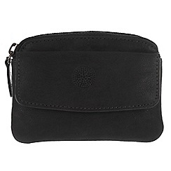 Conkca London - Vintage styled black 'Keeper' leather zipped coin pouch