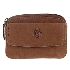 Conkca London - Vintage styled tan 'Keeper' leather zipped coin pouch