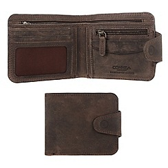 Conkca London - Hunter brown 'Clark' vintage leather wallet in gift box