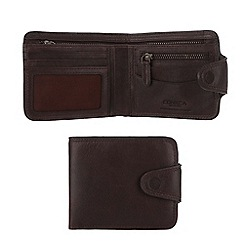 Conkca London - Darkest brown 'Clark' vintage leather wallet in gift box
