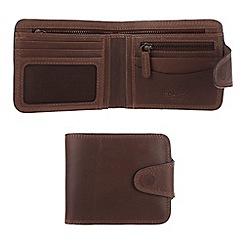 Conkca London - Conker brown 'Clark' vintage leather wallet in gift box