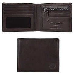 Conkca London - Vintage black 'Alfie' waxed leather 4-card RFID wallet