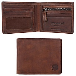 Conkca London - Vintage brown 'Alfie' waxed leather 4-card RFID wallet