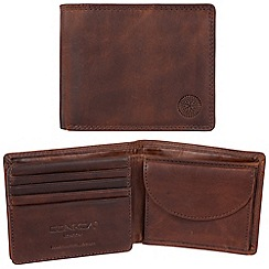 Conkca London - Vintage brown 'Brevin' waxed leather 7-card RFID wallet