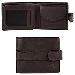 Conkca London - Vintage black 'Ellington' waxed leather 8-card RFID wallet