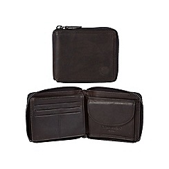 Conkca London - Vintage black 'Greyson' waxed leather 8-card RFID wallet