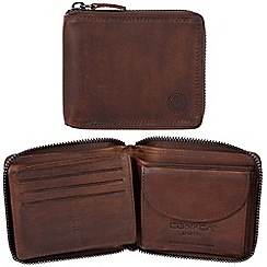 Conkca London - Vintage brown 'Greyson' waxed leather 8-card RFID wallet