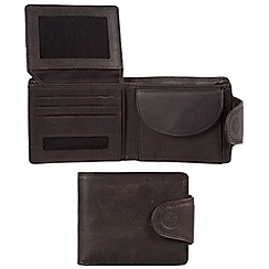 Conkca London - Vintage black 'Klaus' waxed leather 7-card RFID wallet