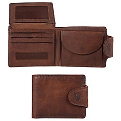 Conkca London - Vintage brown 'Klaus' waxed leather 7-card RFID wallet