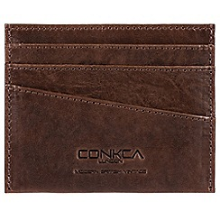 Conkca London - Conker brown 'Verdi' handcrafted leather RFID card holder