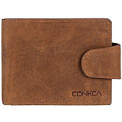 Conkca London - Vintage cognac 'Elgar' handmade leather RFID wallet
