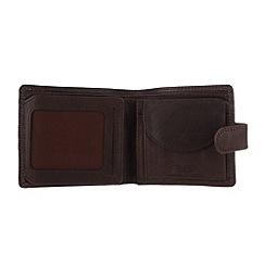 Conkca London - Darkest brown 'Oscar' vintage leather wallet in gift box