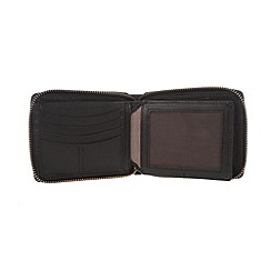 Conkca London - Oxford black 'Chief' zip-round leather wallet
