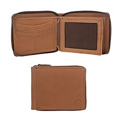 Conkca London - Chestnut 'Chief' veg-tanned leather zip round wallet