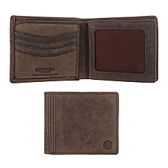 Conkca London - Hunter brown 'Benedict' vintage leather wallet in gift box