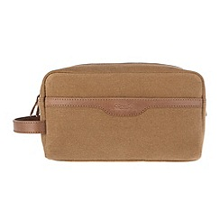 Conkca London - Bark brown 'Lake' vintage canvas and leather wash bag