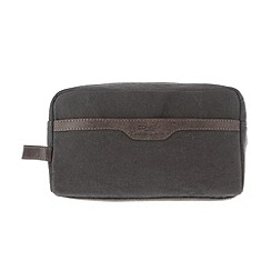 Conkca London - Slate 'Lake' vintage canvas and leather wash bag