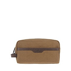 Conkca London - Vintage bark brown 'Lake' canvas and leather wash bag
