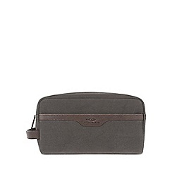 Conkca London - Vintage slate grey 'Lake' canvas and leather wash bag