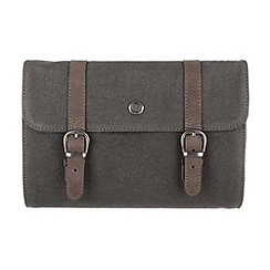 Conkca London - Slate 'Grasmere' canvas and leather wash bag