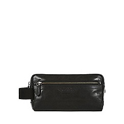 Conkca London - Black 'Windermere' handcrafted leather wash bag